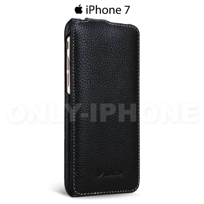 Etui cuir luxe clapet iphone 7 melcko vintage noir leather