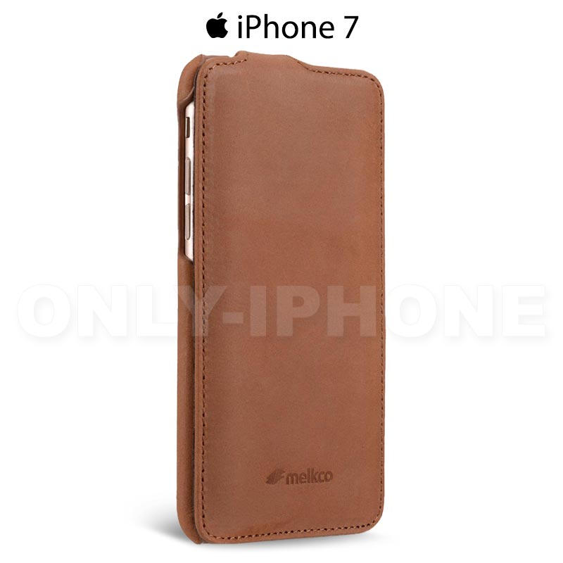 Protection cuir luxe clapet iPhone 7 vintage Melkco