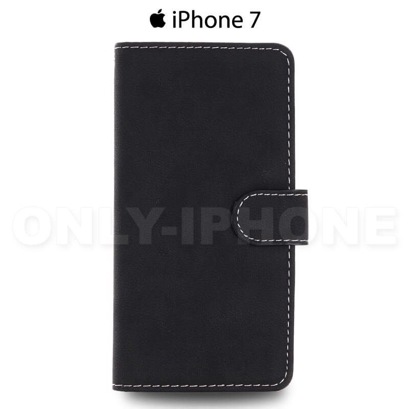 Étui iPhone 7 portefeuille slim soft noir