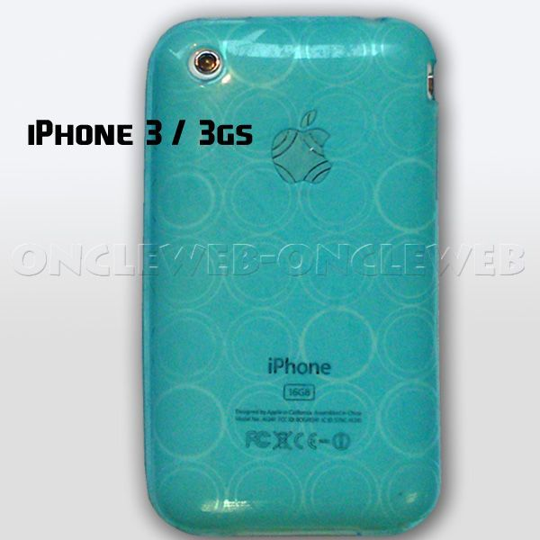 coque siliocne bleu iphone 3