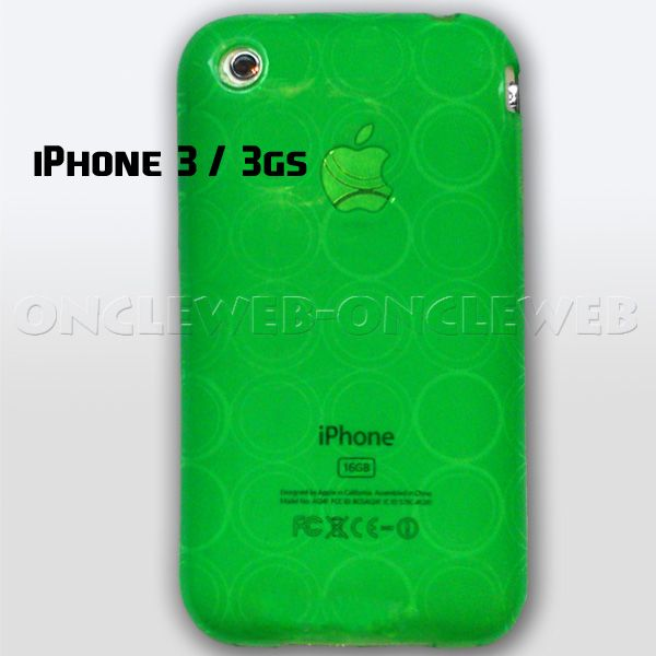 coque silicone verte  iphone 3